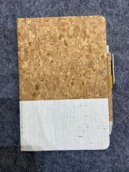 Venda a quente Customized Eco-Friendly Cork Notebook papel de algodão com conjunto de canetas de Esferas