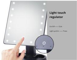 Specchio di trucco con uno specchio cosmetico dei 16 LED con il basamento a pile dell'interruttore del regolatore della luminosità di tocco per la corsa da tavolo della stanza da bagno