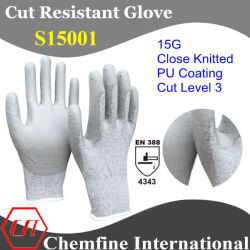 15g super-Thin Knitted Glove met Pu Coated Palm/En388: 4343