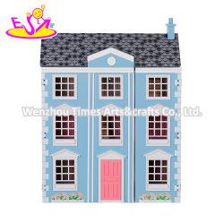 Nieuwe warmste Blue Wooden Georgian Dolls House Kits voor kinderen W06A419