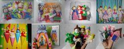 가족 피복 인형 핑거 괴뢰 아기 교육 손 만화 동물 장난감