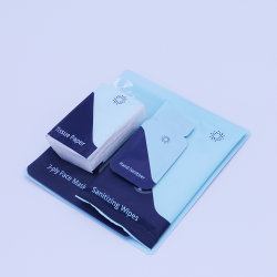 Kit de protección personal exterior/Kit de viaje con un pañuelo de papel mano Kit Kit de desinfección de 3 capas de máscara facial de desinfección Kit Kit de paños