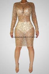 Les femmes sans manches chaud Paillettes Paillettes pleine longueur combinaisons Bodysuits Rompers Clubwear ESG10437