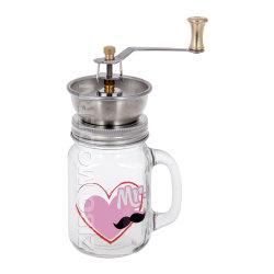 Edelstahl-Kurbel, der keramischen Kaffee-Schleifer-Gang mit Maurer-Glas reibt