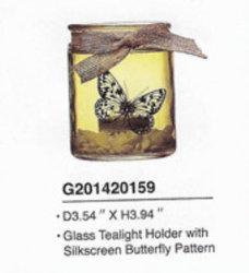 Colore spruzzato fatto a macchina supporto di vetro candela/di Tealight con il pendente della farfalla