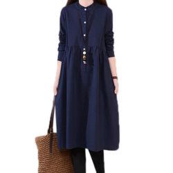 Nouvelle mode décontracté lâche à manchon long plain robe Linen-Cotton Femmes