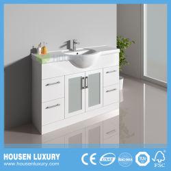 PVC ou material MDF Grande Bacia do ventre de Tinta Branca pode ser personalizada Porta de vidro fosco armário de banheiro