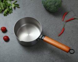 Neuester Titancookware-Edelstahl-nicht Stock-Minikasserolle mit hölzernem Griff