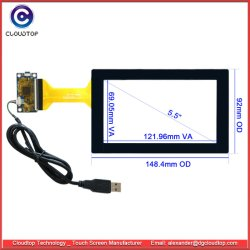 """5.5"""" a tela de toque capacitivo múltiplos com interface USB para dispositivos portáteis industriais"""