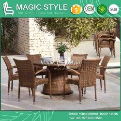 의자 정원 쌓을수 있는 의자 (세트를 식사하는 Jada) 가구를 식사하는 테이블 안뜰 등나무를 가진 옥외 고리 버들 세공 식사 의자