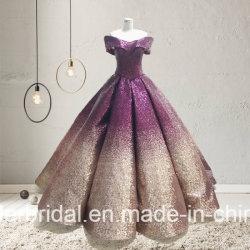 帽子の袖のQuinceaneraの服の赤い紫色の銀製の金のスパンコールの花嫁の夜会服E985