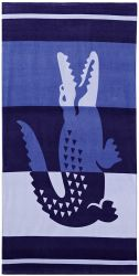 """Lacoste Duque 100% algodão toalha de praia, 36"""" W X 72"""" L, Faixa azul"""