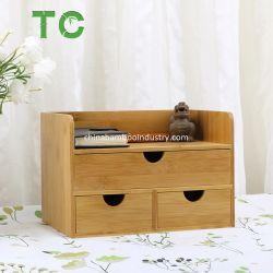منظم مكتب بامبو بالجملة 3 من الدرجة مع أدراج سطح الطاولة منظم سطح المكتب الرف