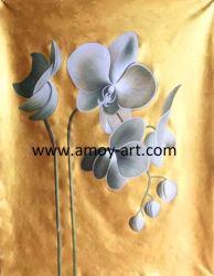 伸張器が付いている金アクリルの蘭の花の油絵