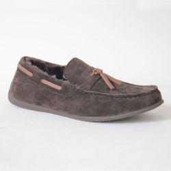 우연한 남자 게으름뱅이 모카신 모는 단화 둥근 발가락 편평한 신발 가죽