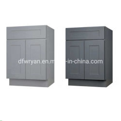La película de PVC puerta del armario de cocina modular con la base de la canal gabinetes de cocina para muebles de madera