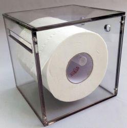 Montage mural carré en acrylique transparent Boîte de rouleau de papier de toilette distributeur titulaire de stand avec des ventouses
