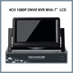La vigilancia 4CH 1080P P2p de vídeo H. ONVIF NVR 265 con 7 pulgadas LCD