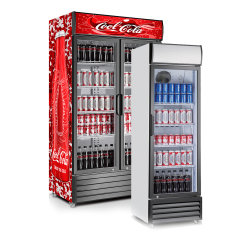 ガラスドアドリンク冷蔵庫ソフトドリンクビール冷却機能付きディスプレイクーラー アップライトシングルドアクーラ