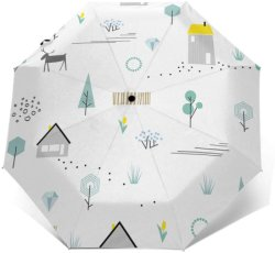 핸즈프리 포레스트 프린팅 디자인 유래지트 룩 여행 우산