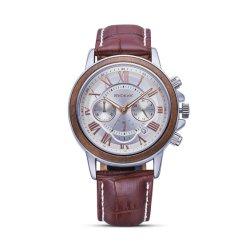 Resistente al agua de madera de colores de moda la moldura de Metal Mens relojes analógicos