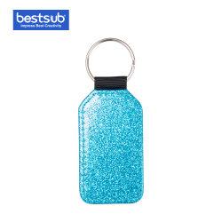 Glitter Bestsub Sublimation PU la chaîne de clés en cuir (Baril, bleu)