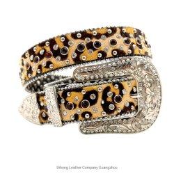 Western Crystal Berry Estrás Bling Cowgirl Leopard Print crin correa de cuero para mujer