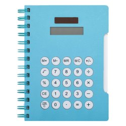 Portátil multifuncional con la calculadora en la tapa de la Oficina de la Escuela de Estudios de Matemáticas en azul y rojo