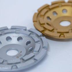 Diamond Disco de doble fila de diamantes de sinterizado de molienda de cemento pulido piso pulido de diamantes de las ruedas de la Copa de las ruedas de la copa para máquinas