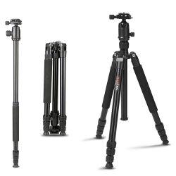 カメラおよびカムコーダー(ZP-601)のための球ヘッドが付いているコンパクトなアルミニウム携帯用旅行三脚