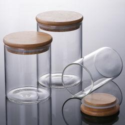 気密のシールのタケふたのコーヒー豆および台所食糧容器が付いているガラス記憶の瓶