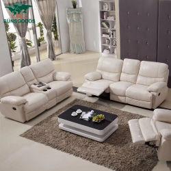 صنع وفقا لطلب الزّبون حقيقيّة جلد يرقد أريكة محدّد بيضاء لون أثاث لازم أريكة