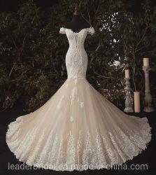 La protezione collega il merletto con un manicotto del vestito da cerimonia nuziale della sirena che borda l'abito di cerimonia nuziale nuziale di Champagne Lb2312