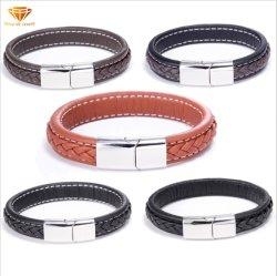 Braccialetto di cuoio tessuto acciaio di titanio Bl2921 del braccialetto dell'acciaio inossidabile della cinghia di cuoio del nero dei monili di modo