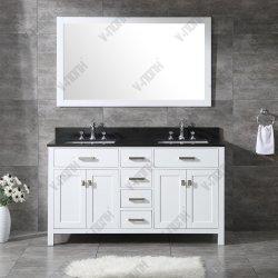 黒い花こう岩の浴室の虚栄心の現代様式60inchの白いキャビネット