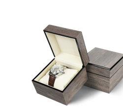 재고 있는 상품 하이 엔드 베이킹 페인트 광장 PU 베개가 있는 싱글 워치 박스, 클래식 그레이 목재 시계 케이스