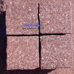 Асфальтирование каменными/куб природного камня Split Flamed Красных Скал Красного камня Porphyry/Porphyre проекта на открытом воздухе