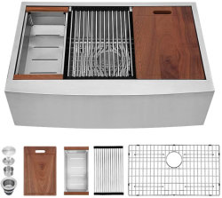 30 x 22 pouces Aquacubic 18/16 en acier inoxydable de station de travail Undermount jauge Ledge, tablier de la ferme évier de cuisine
