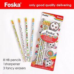 Foska 문구용품 사무실 고품질 Hb 연필과 지우개 세트