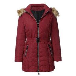 Windproof Hat de longs manteaux détachable de l'hiver chaud femmes manteau