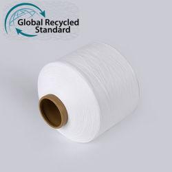 Высокое качество Dope домашний Raw белый 100% переработанного ПЭТ FDY полиэфирной нити накаливания Витая Warp пряжи для тканого этикетки