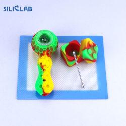 Tubo del silicone del cucchiaio del tabacco del favo dell'ape mellifica con la ciotola di fumo di vetro