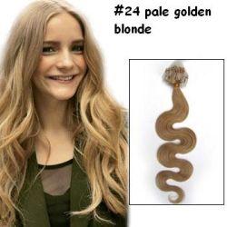 24 حلقة الشعر الطلقة الصغيرة بلوندد 100 ٪ إمتداد الشعر البشري