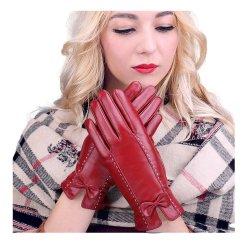 Senhoras Tela Sensível ao Toque Thin Genuine Lambskin Inverno condução quente vestido de couro mulheres luvas de pele de ovelha