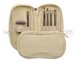 Os PCS 6 escovas de maquiagem com cânhamo Zipper Bag