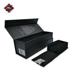Disque de carton noir luxe personnalisé papier plié de volet de vin rouge un emballage cadeau boîtes avec fermeture magnétique