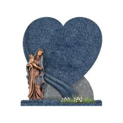 Design Heart-Shaped europeu branco/azul/preto lápides de pedra de granito