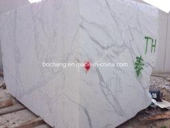Calacatta italien pour les carreaux de marbre blanc bloc dalle