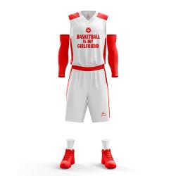 Het wit tegenover Rode Sporten draagt Gesublimeerde Basketbal Jersey van Kostuums het volslagen