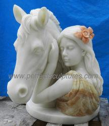 Cor de múltiplos Jardim pedra esculpida de esculturas de mármore com cabeça de cavalo Lady Estátua (SY-X1906)